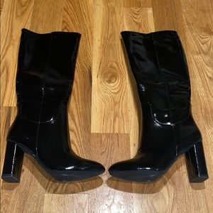 Black block heel patent calf boot NWOT